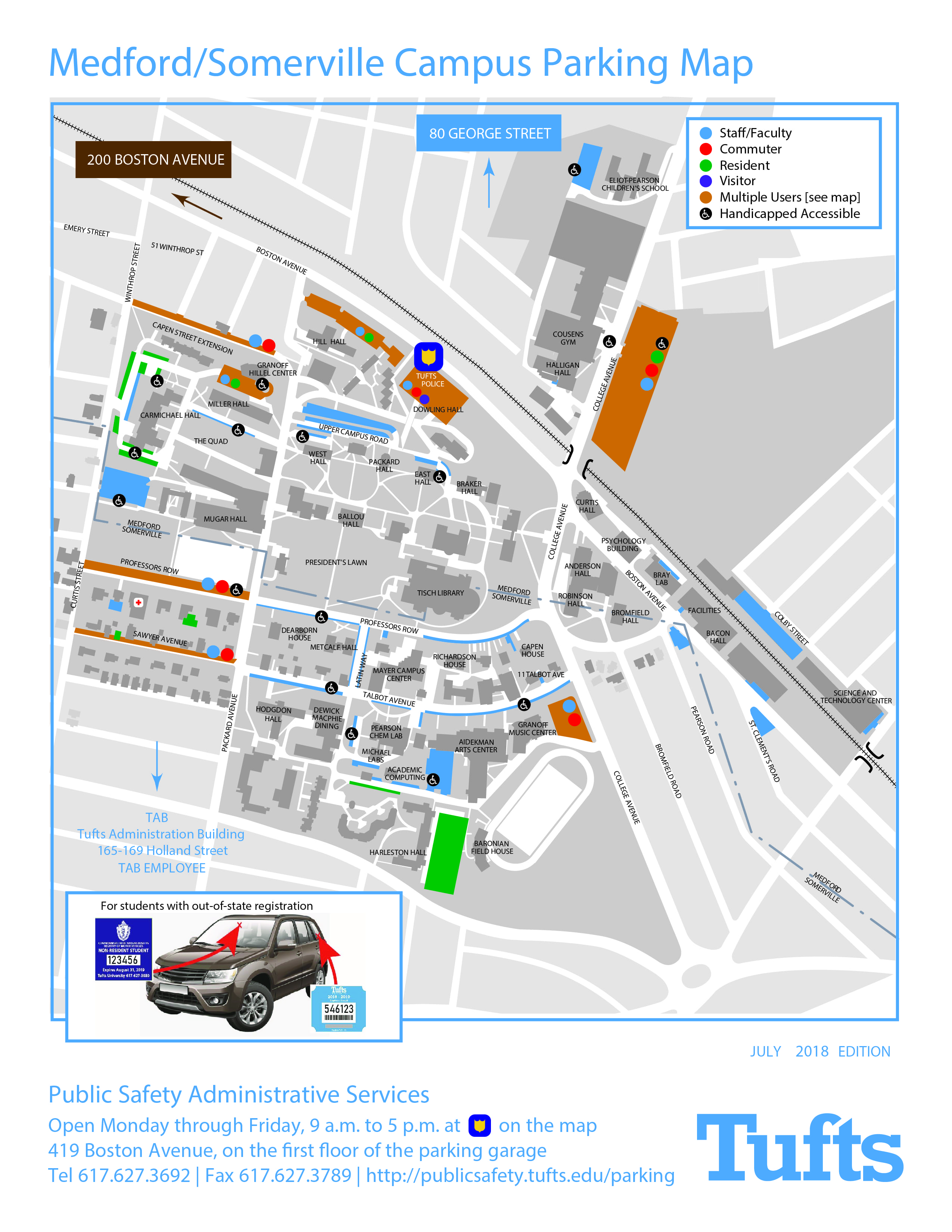 Campus Parking Map   Transportation, Parking and IDs